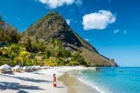 Photo d'une plage sur l'ile de Sainte Lucie